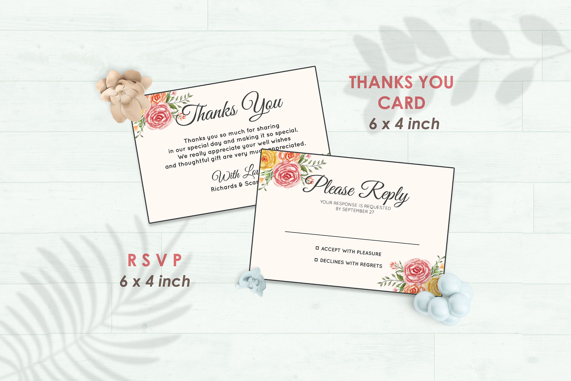Wedding Invitation Set #3 Watercolor Floral Flower Style example image 4