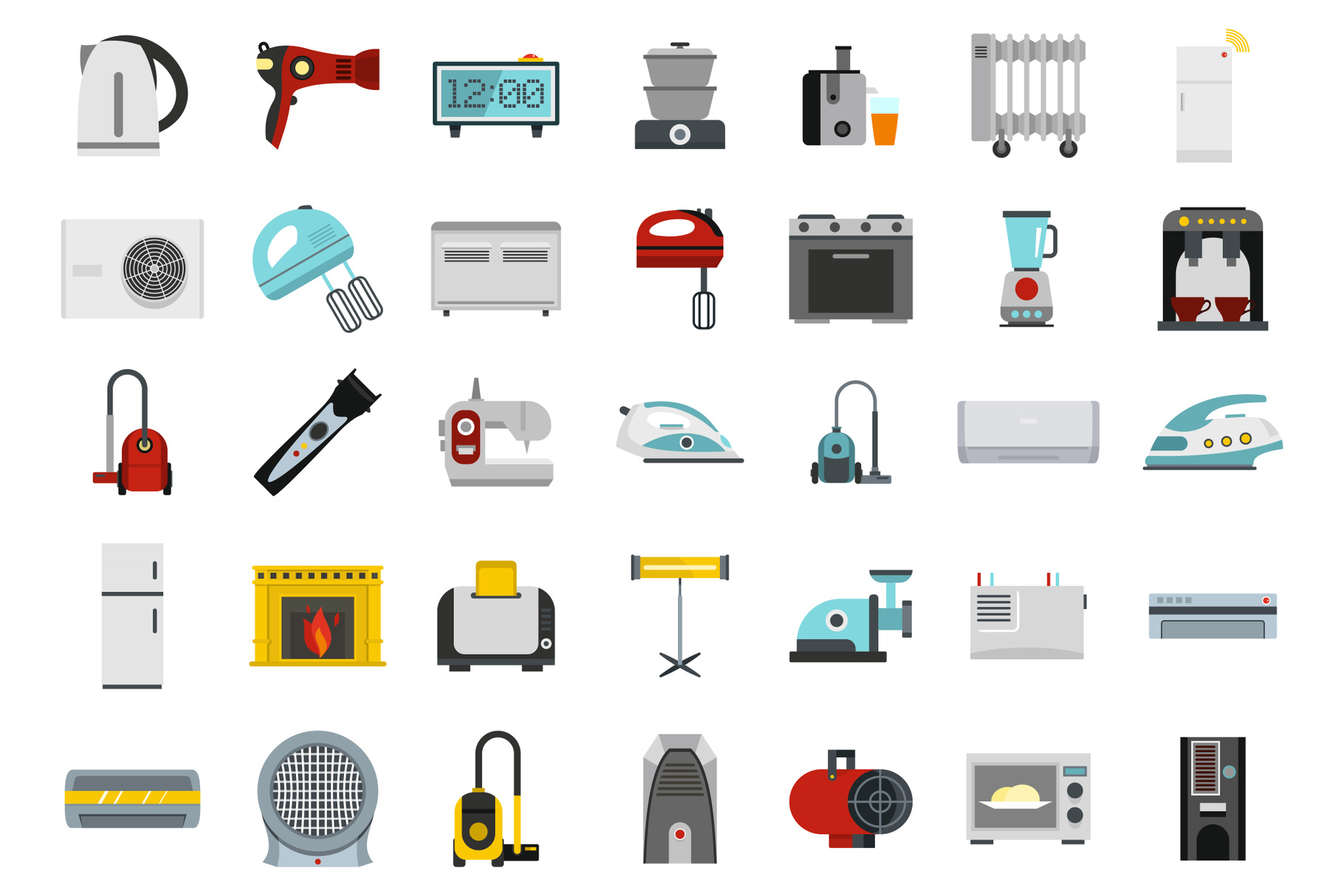 Home appliances icon set, flat style example image 1