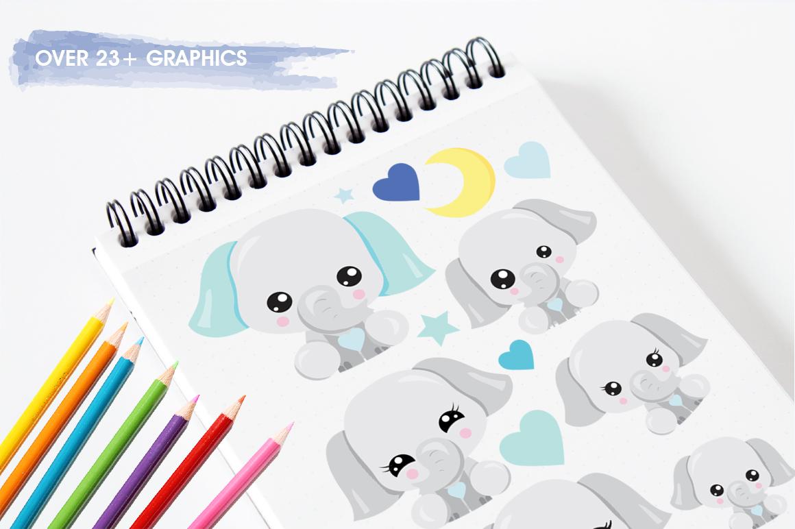 Kawaii Elephant graphics and illustrations example image 4