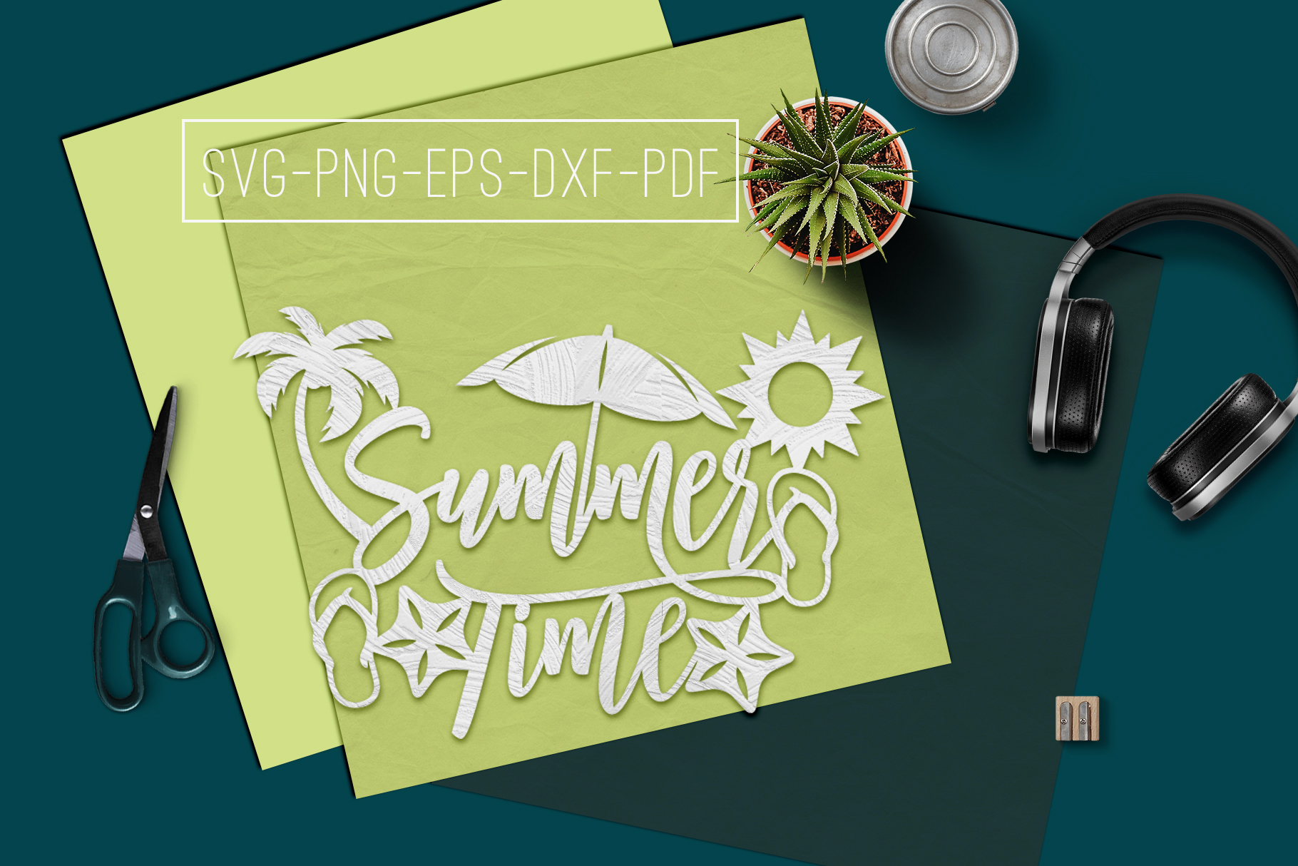 Summer Time Paper Cut Template, Summer Beach Decor SVG, PDF example image 2