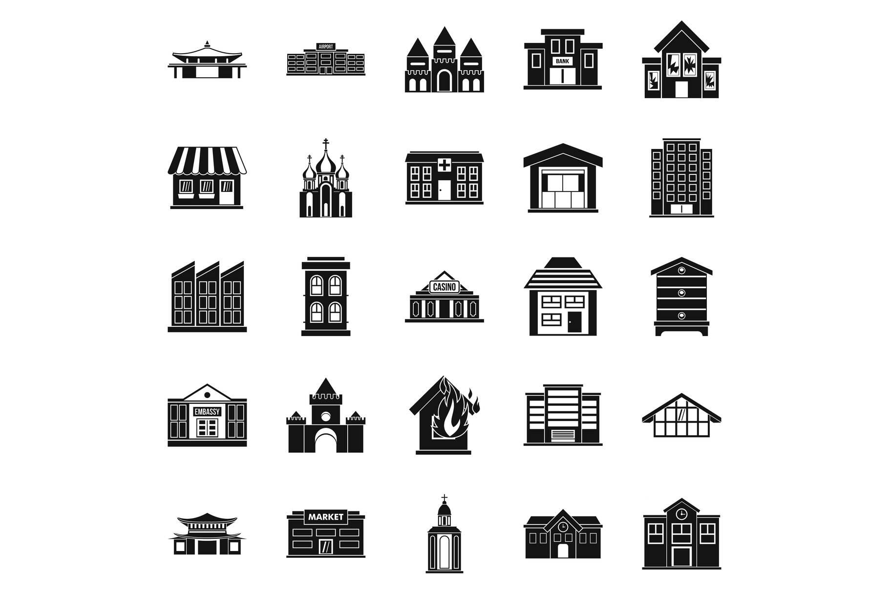 Land development icons set, simple style example image 1