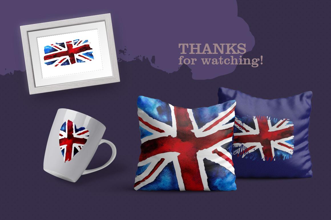 Old British. Watercolor britain flag. United Kingdom. example image 8