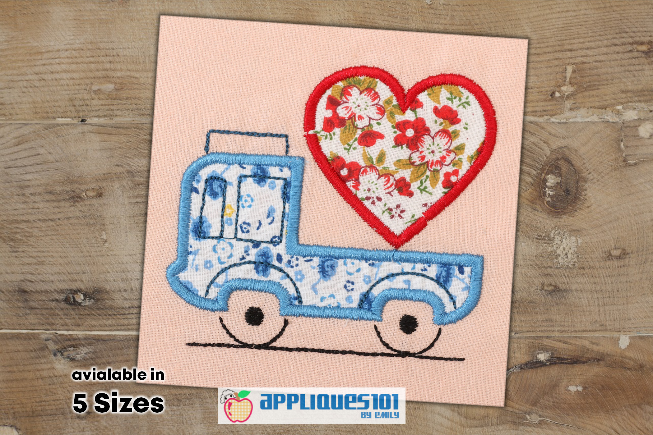 Love on Truck Machine Embroidery Applique Design - Trucks example image 1