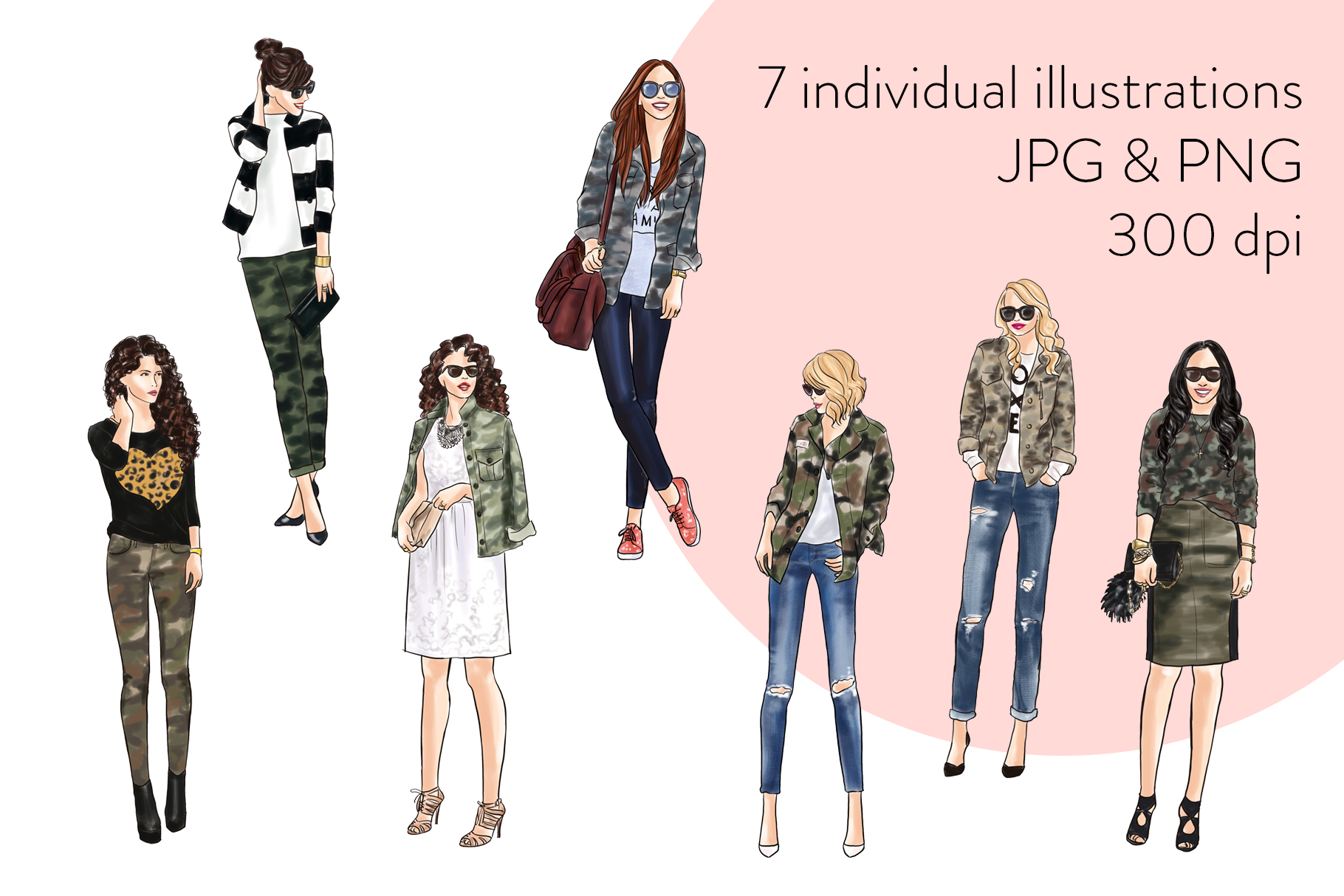 Fashion illustration clipart - Girls in Camo - Light Skin example image 2
