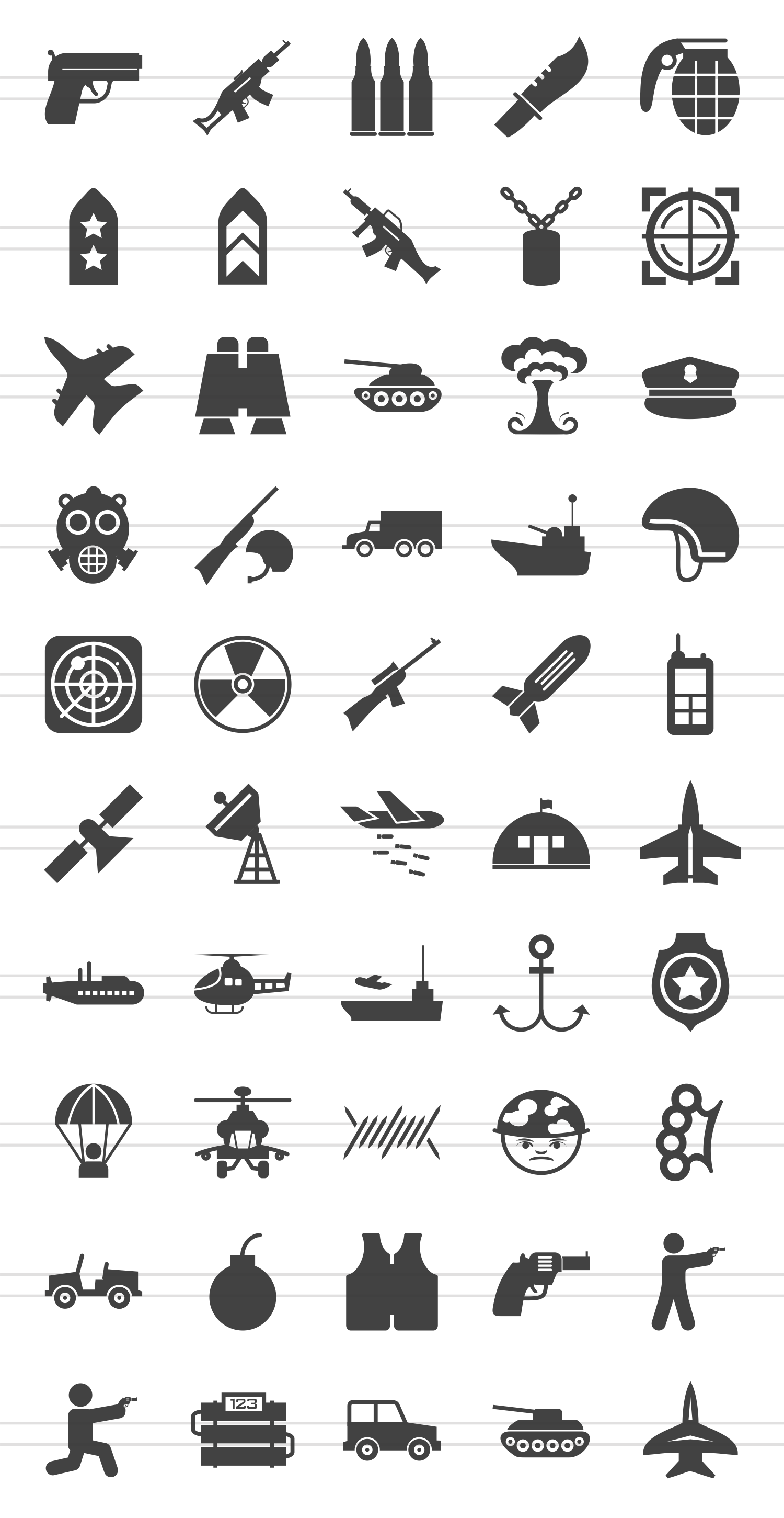 50 Military Glyph Icons example image 2