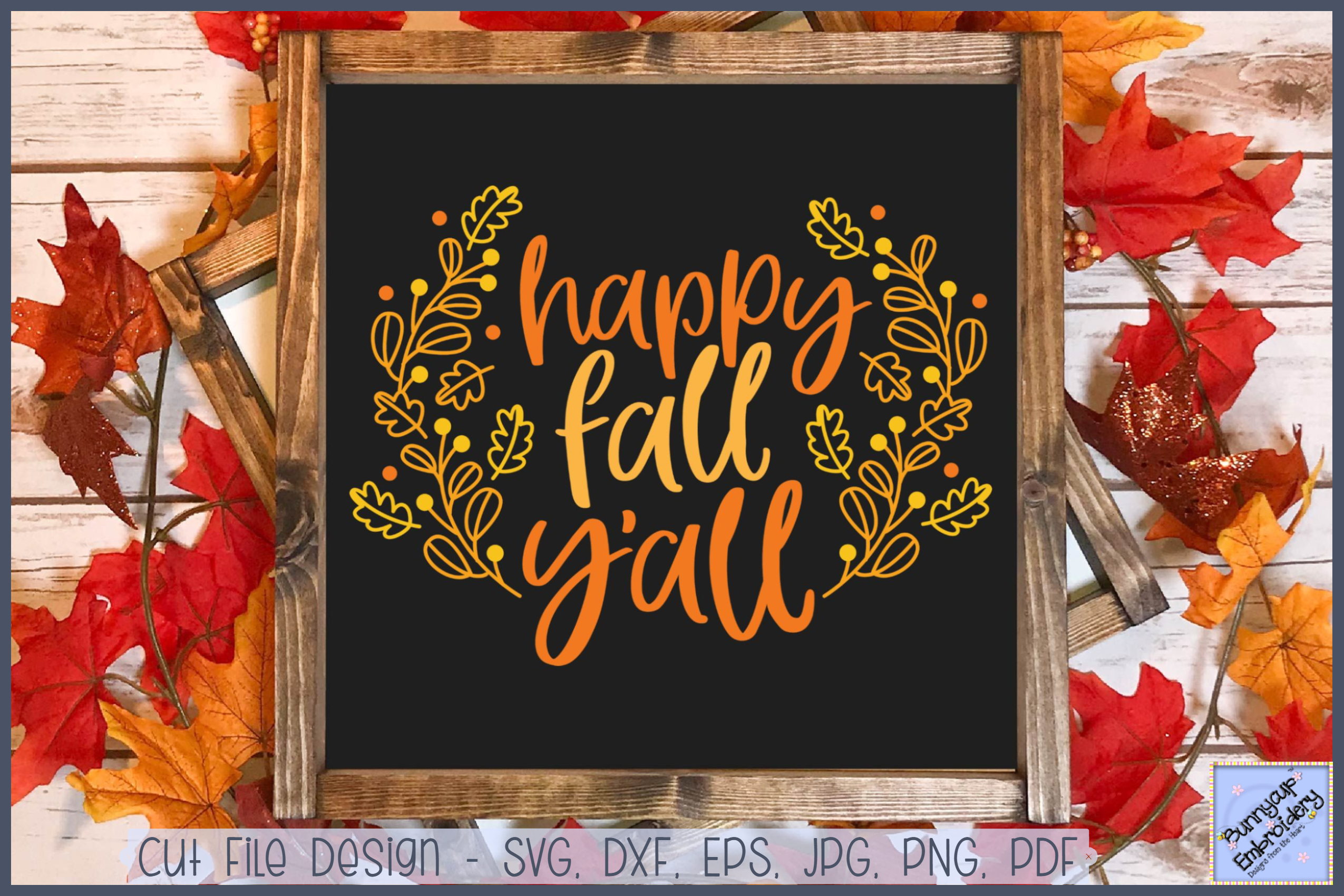 Happy Fall Y'All - SVG, Clipart, Printable example image 1
