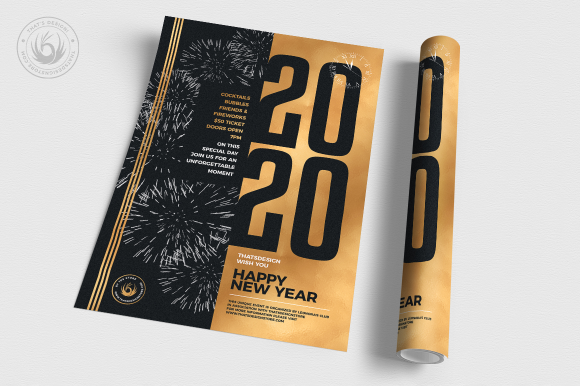 New Year Flyer Template V9 example image 3