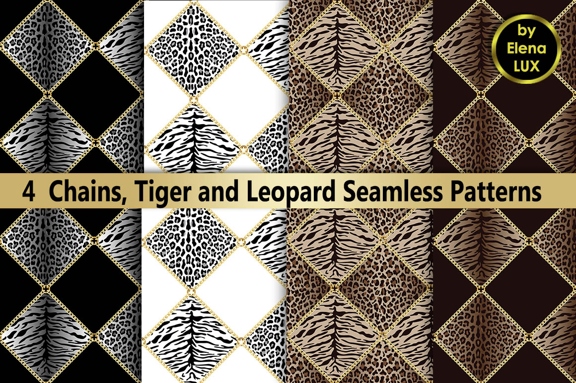 Chains and Leopard Seamless Set example image 1