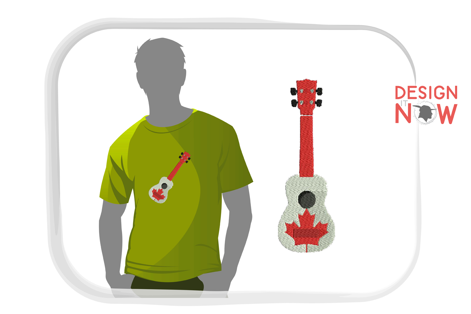 Canada Flag Embroidery Design, Map Embroidery Design, Guitar example image 1