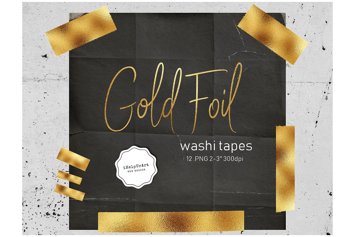 Gold foil washi tape clipart  example image 1
