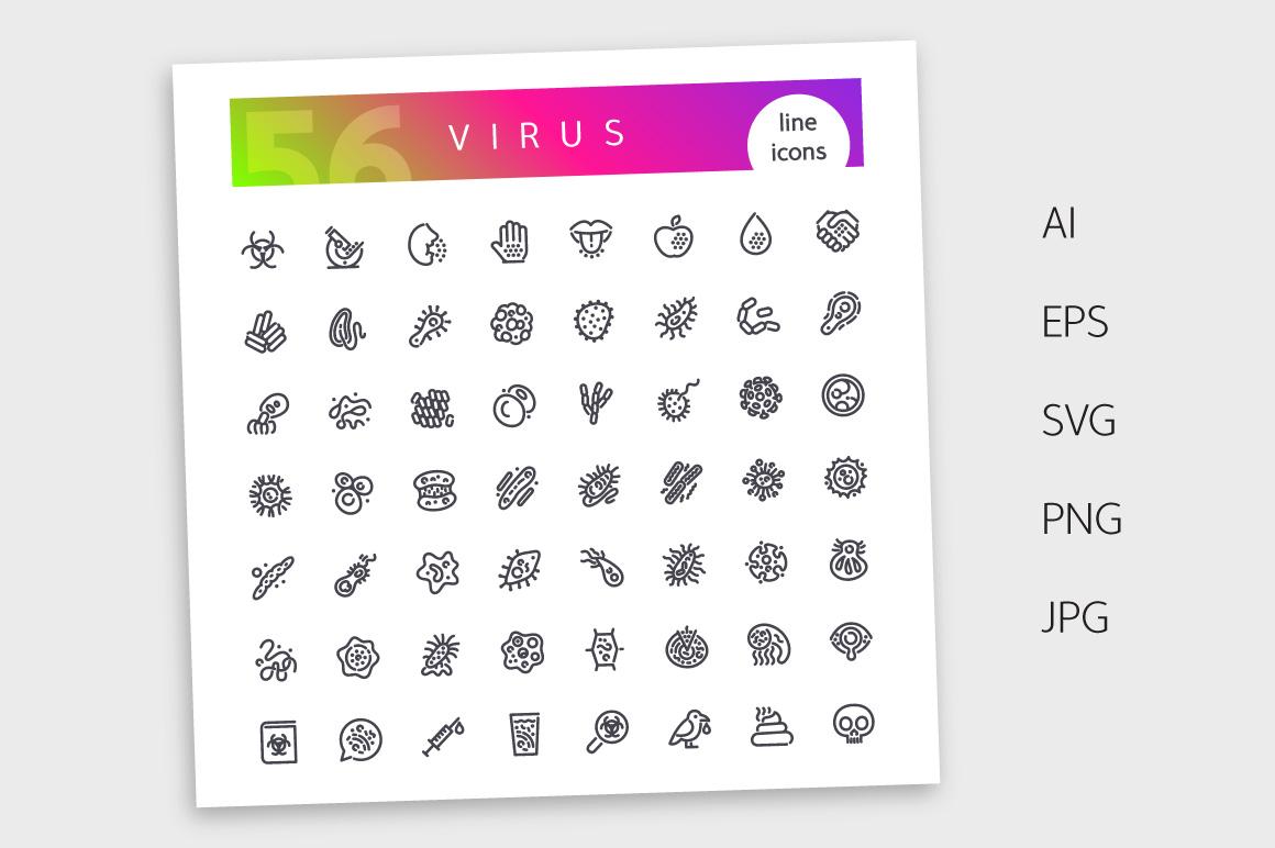 Virus Line Icons Set example image 4
