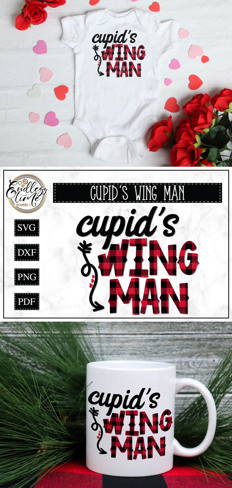Cupid's Wing Man - A Buffalo Plaid Valentine's Day SVG example image 5