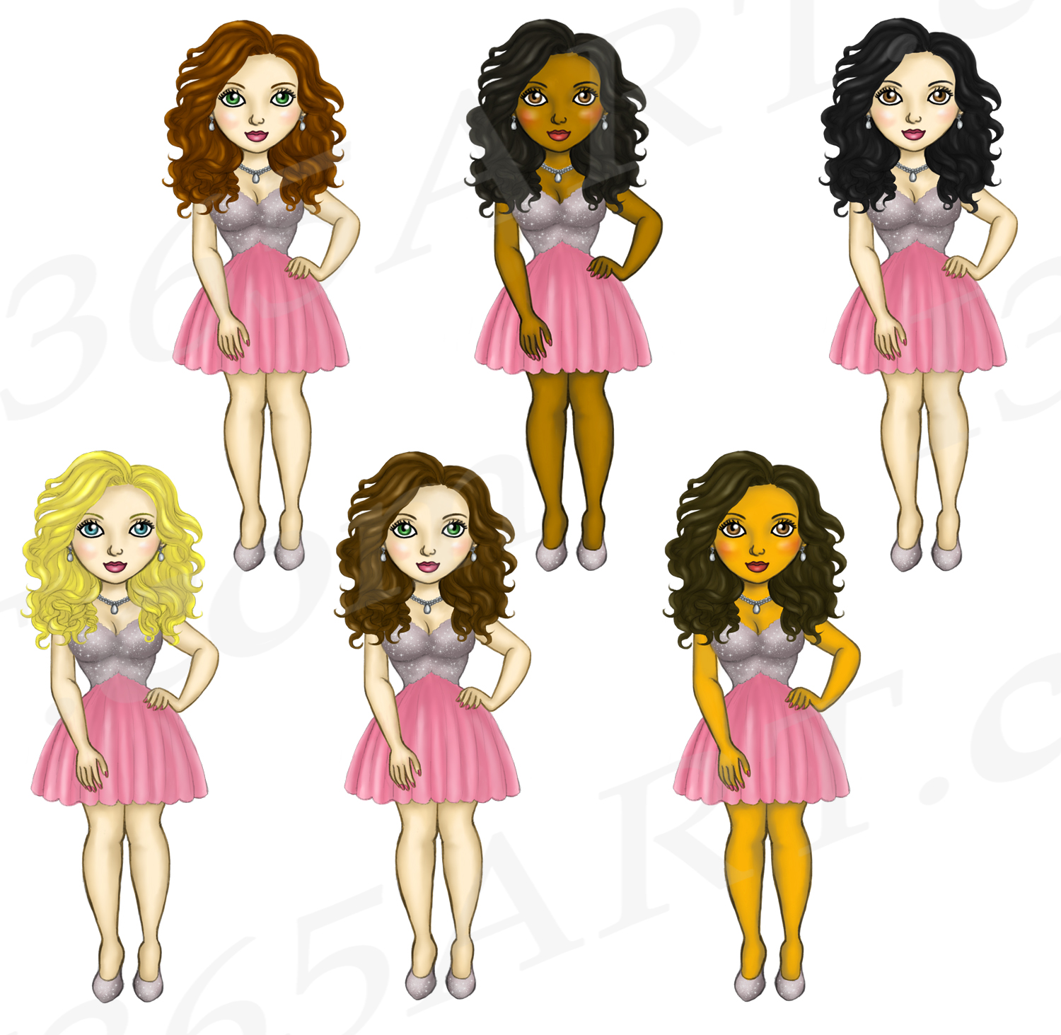 Party Dress Girls Cute Pink Dress Clipart, Fashion Dolls example image 3