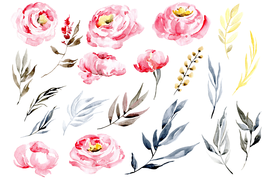 Watercolor pink peonies example image 2