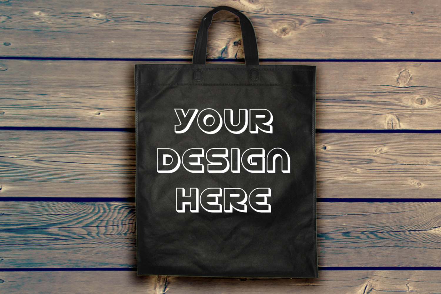 Black Tote Bag Mockup Just for 1.50$ example image 1