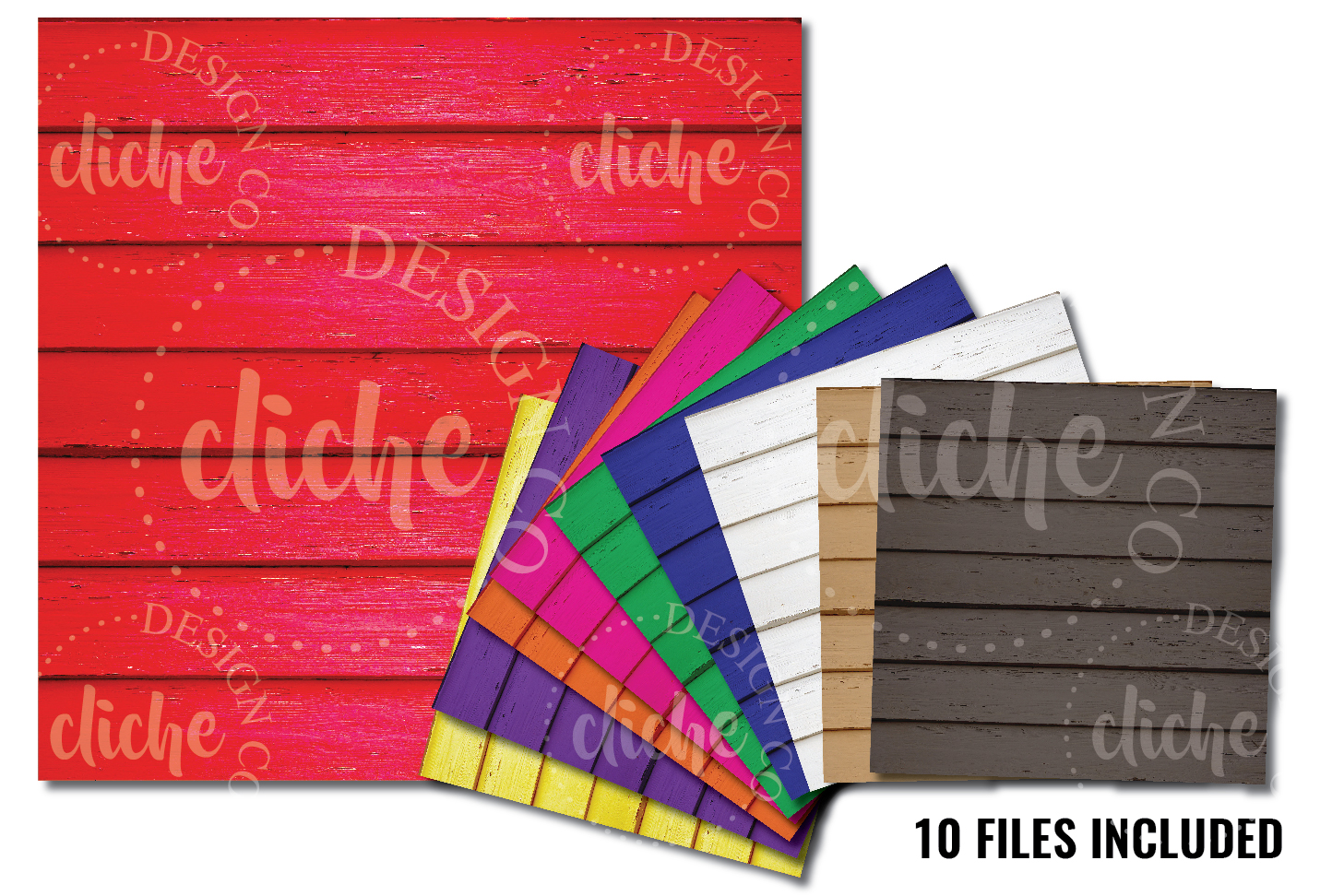 Color Wood Digital Paper Bundle example image 1
