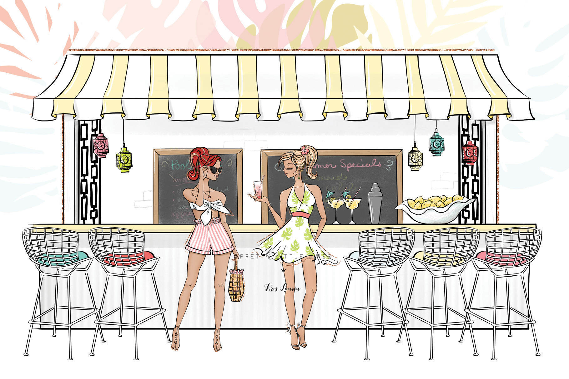 Tropical Summer Girls Clip Art example image 3