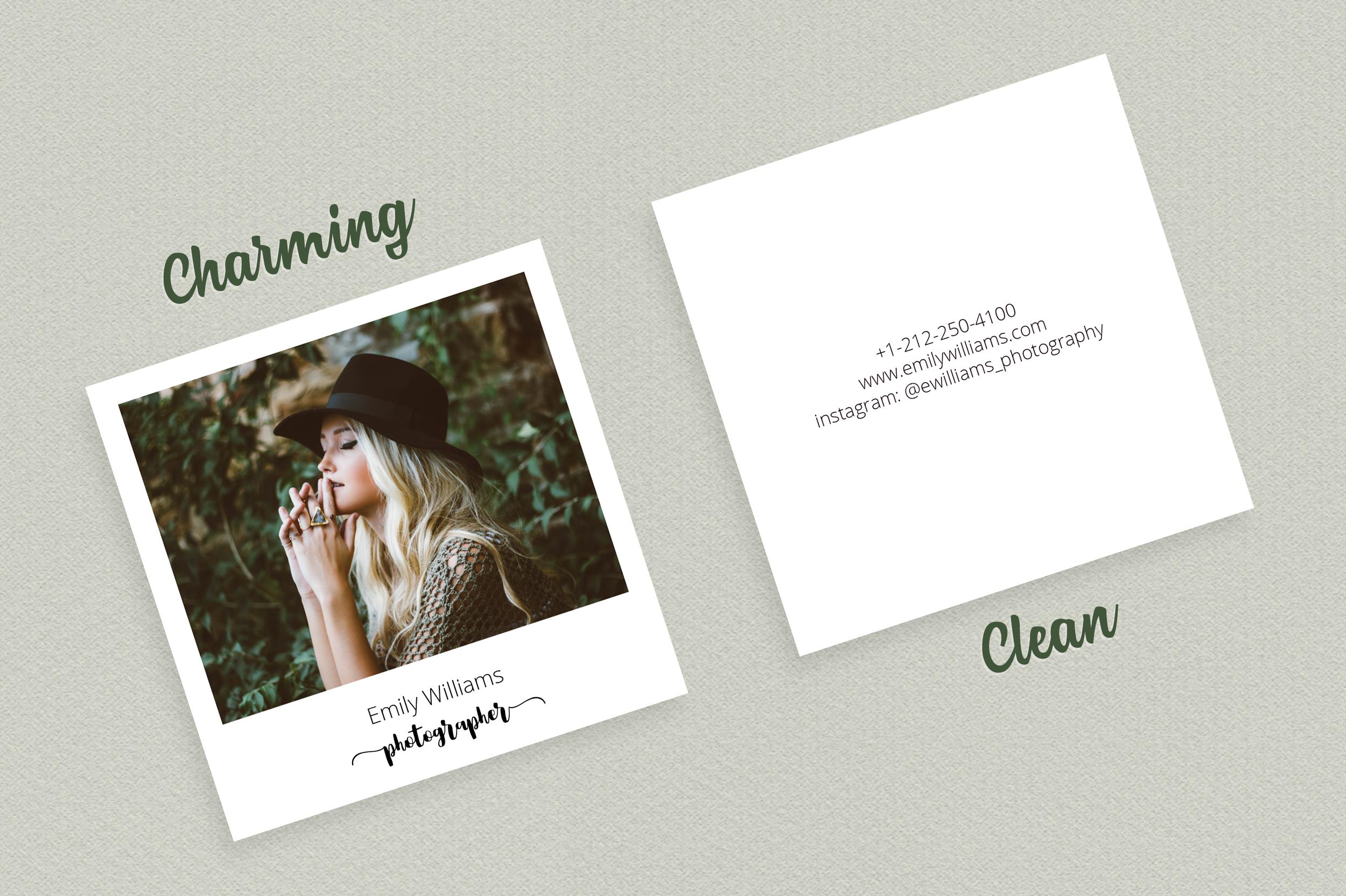 Square Polaroid Photographer Business Card example image 4