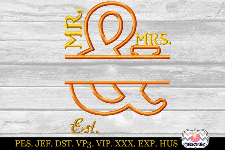 Mr and Mrs applique split Design Template 3 sizes example image 2