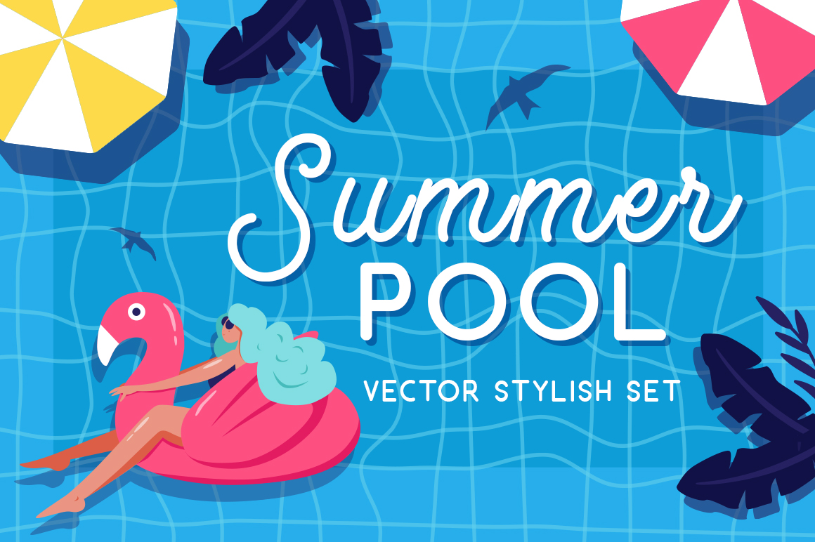 Summer pool - vector set example image 1