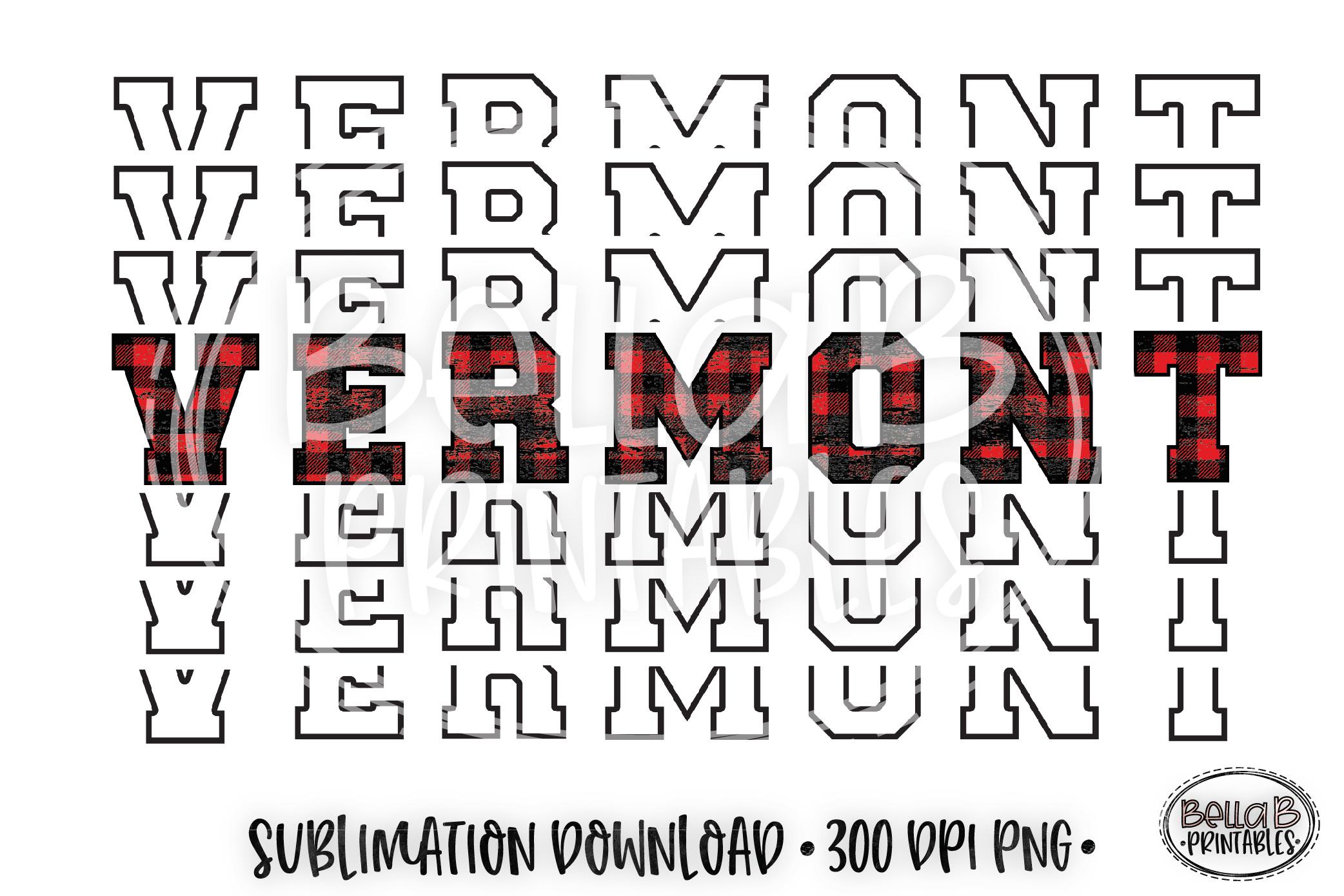 Vermont Sublimation Design, Buffalo Plaid, Mirrored Design example image 1