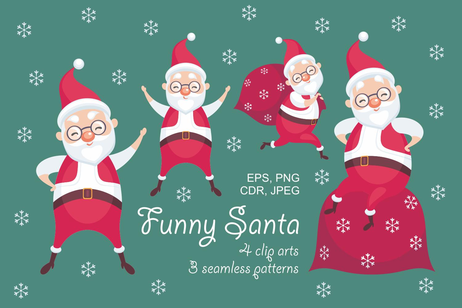 Christmas bundle. Vector cliparts and seamless patterns example image 10