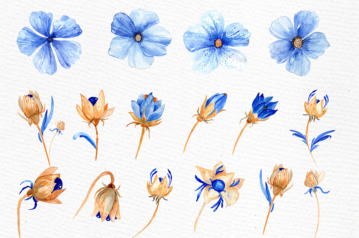 Watercolor blue gold flowers example image 3