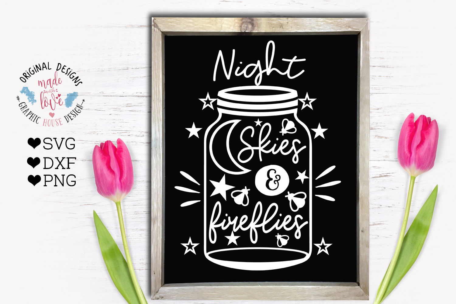 Night Skies and Fireflies - Summer Porch Decor SVG example image 1