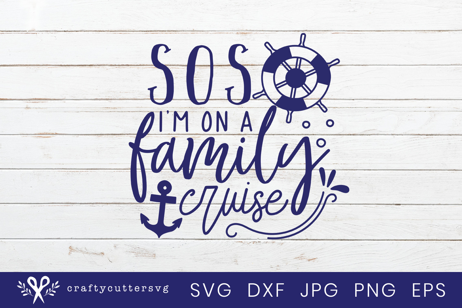 SOS I'm on a family cruise Svg Cut File Anchor Clipart example image 2