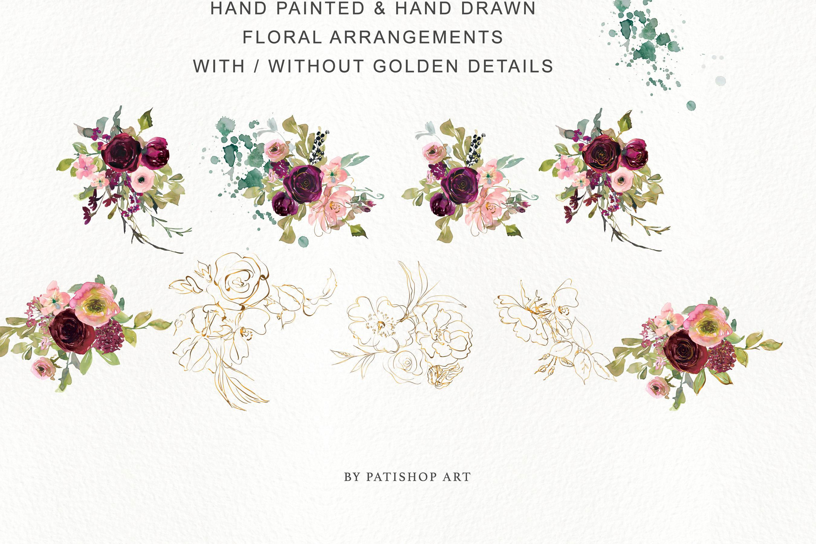 Watercolor Burgundy Blush and Gold Floral Bouquet Clipart example image 11
