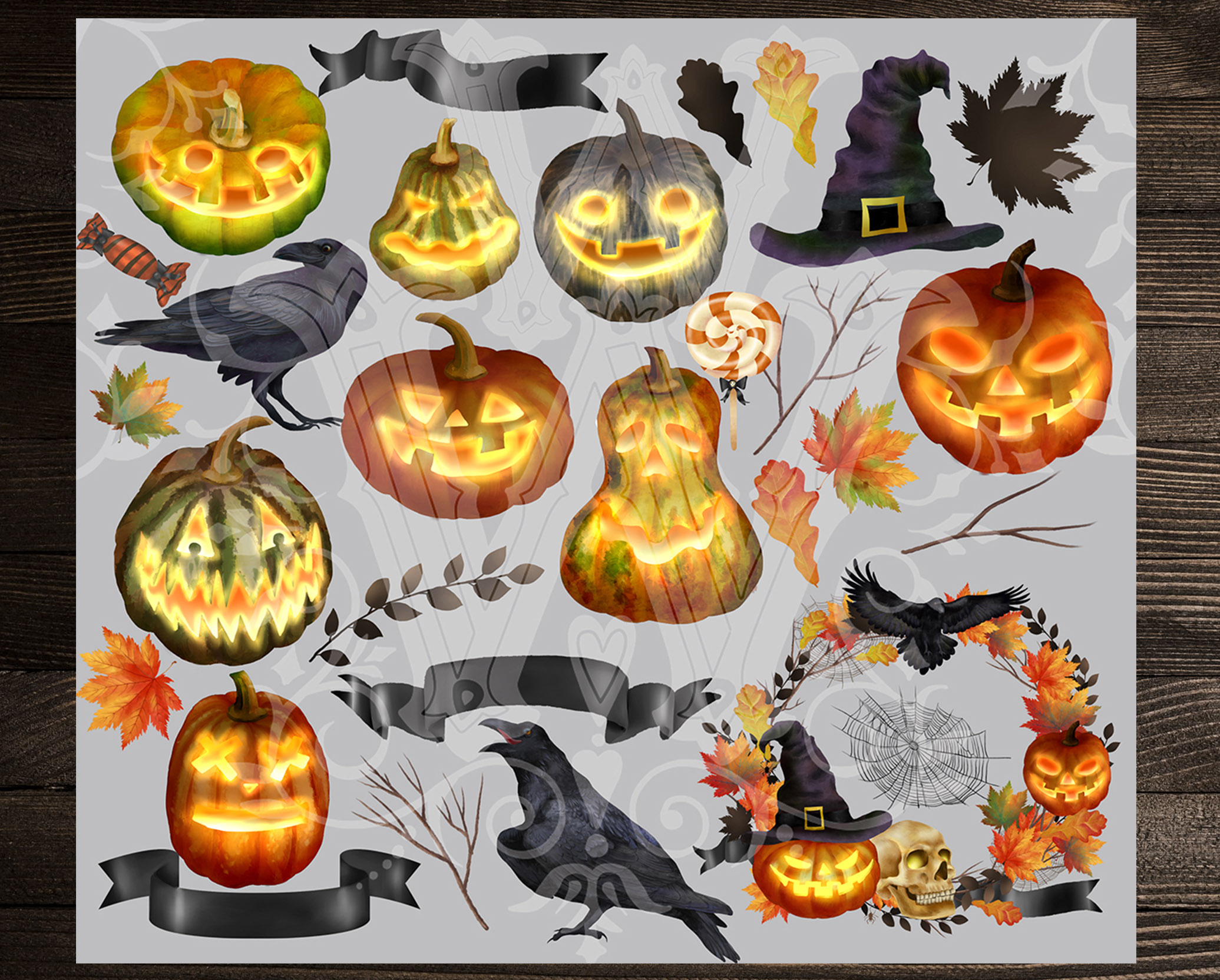 Halloween clipart set with raven pumpkin fall leaves sweets example image 2