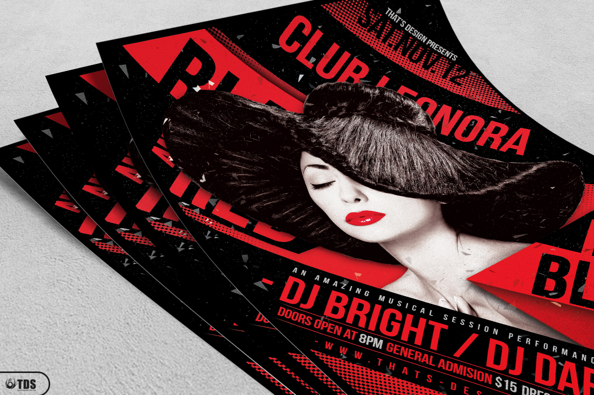 Black and Red Party Flyer Template V1 example image 3