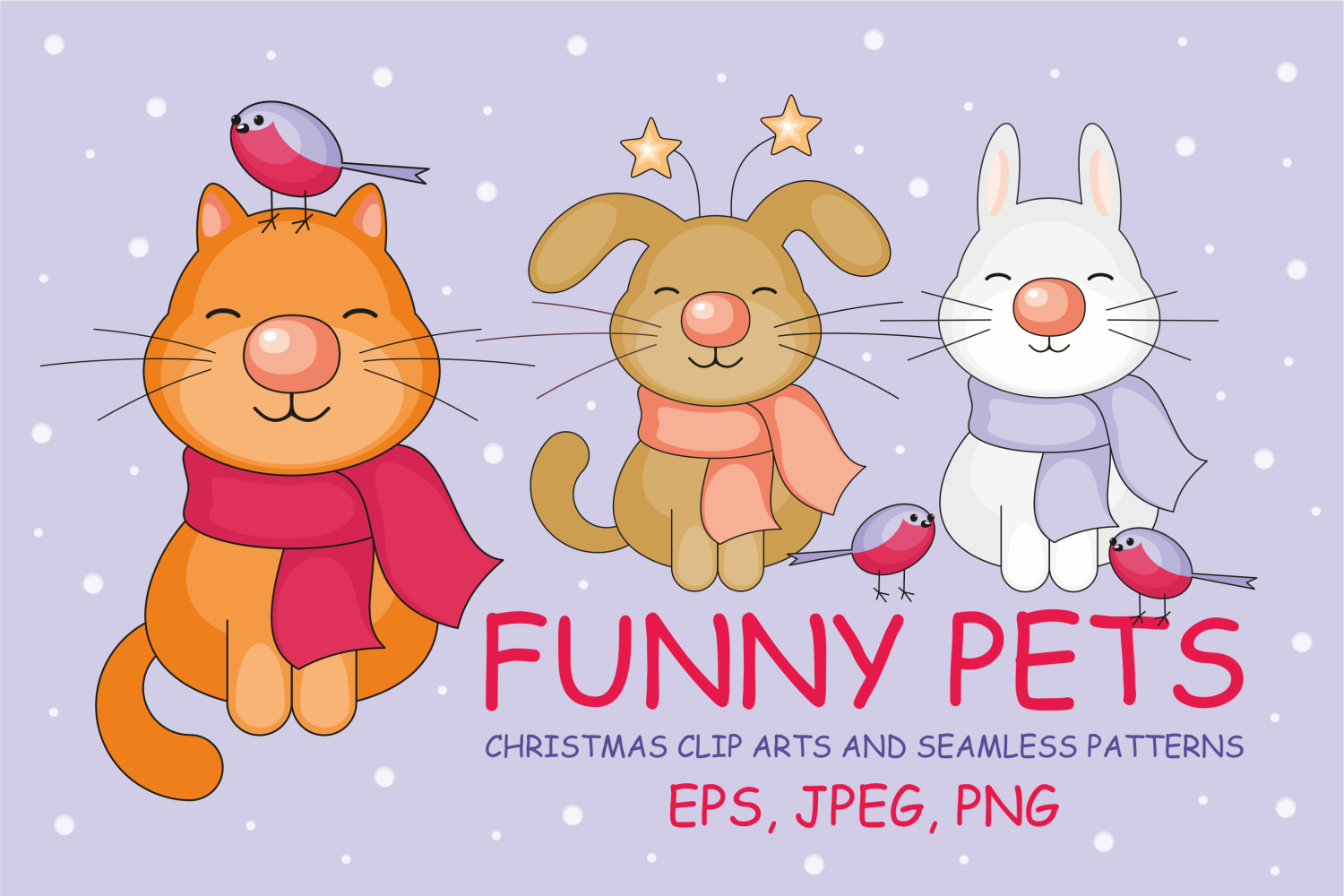Funny pets. Christmas clip arts and seamless patterns. example image 1