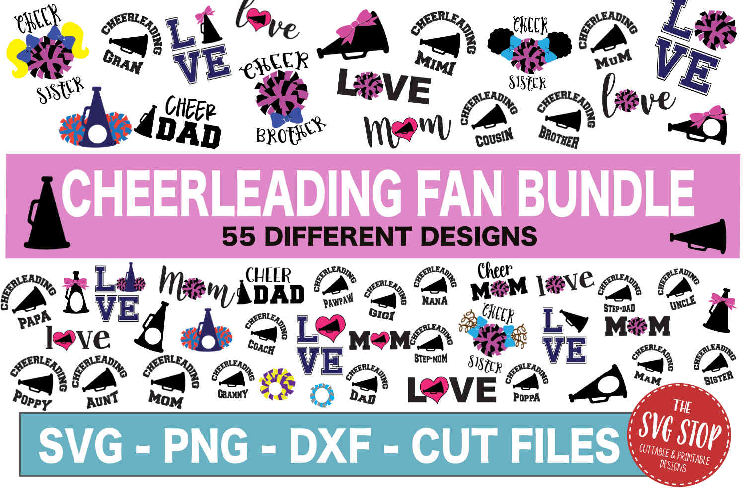 Cheerleading SVG Bundle -SVG, PNG, DXF example image 1