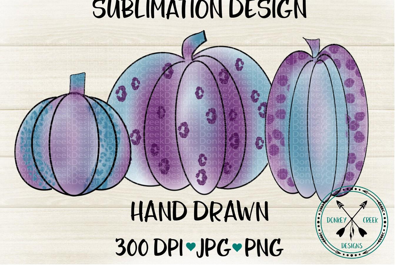 Hand Drawn purple leopard pumpkins Sublimation Design example image 1