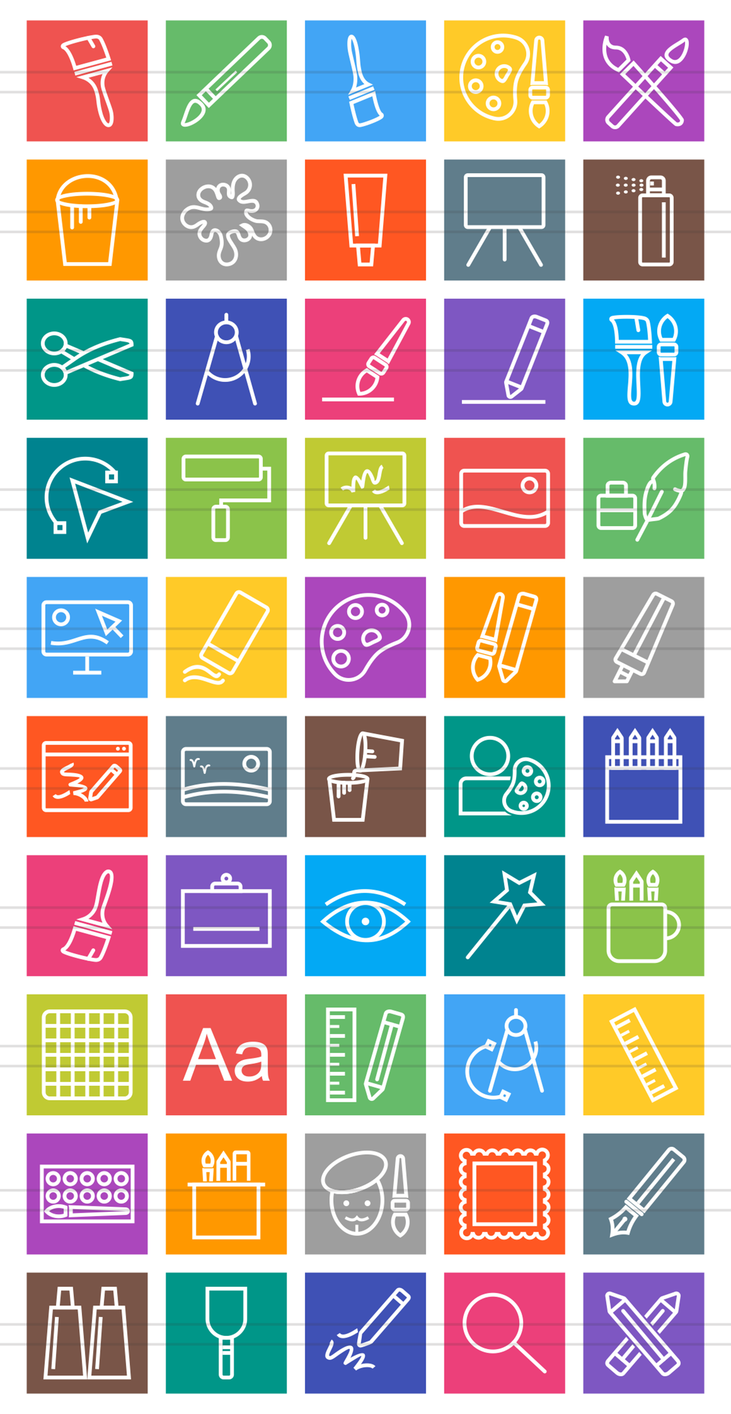 50 Art & Designing Line Multicolor B/G Icons example image 2