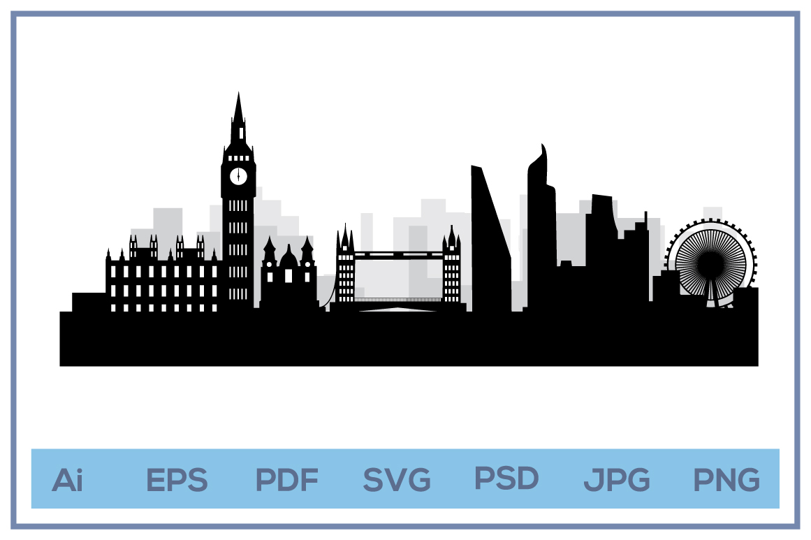 Vector shilhouette of London city skyline landscape design example image 1