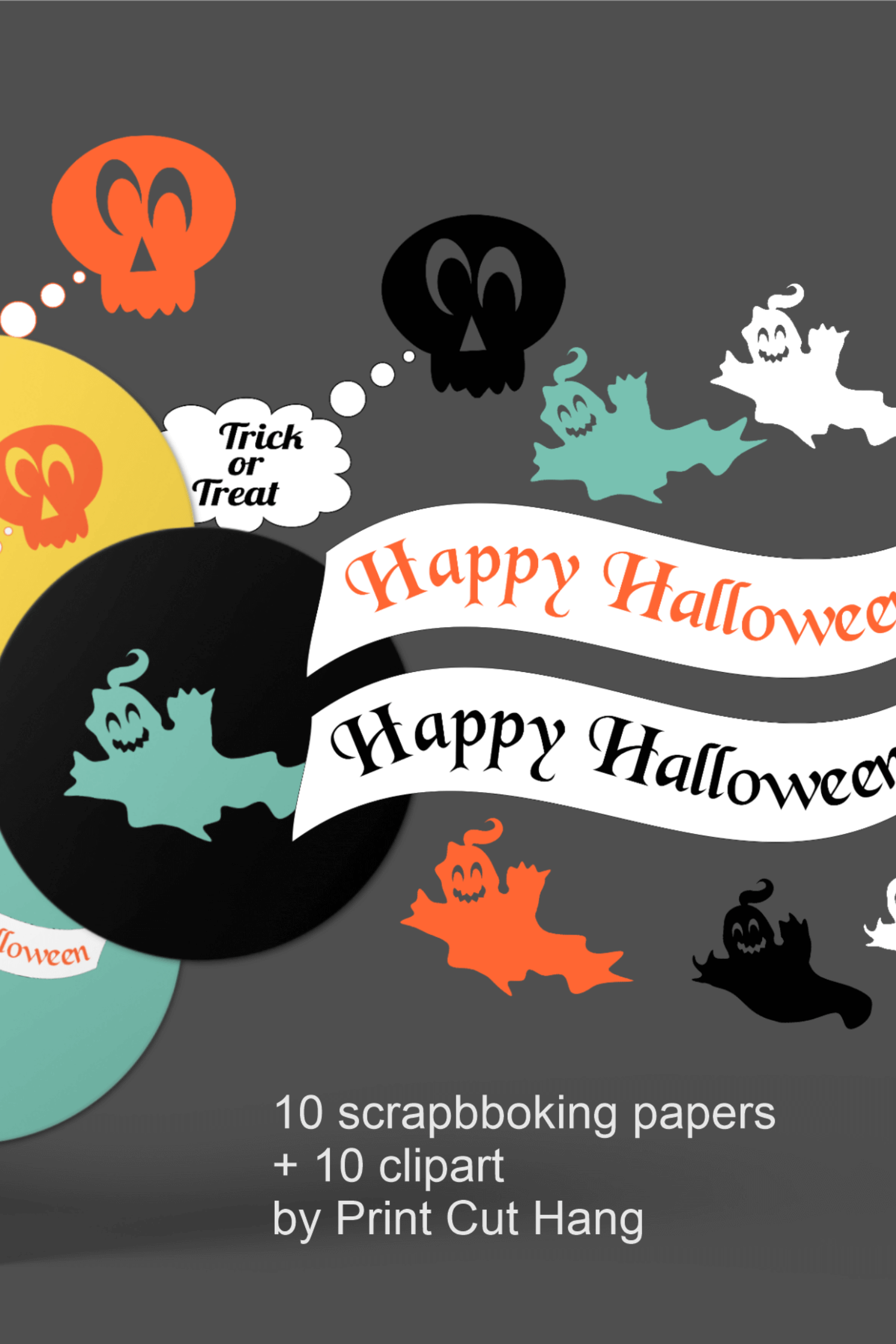 Halloween Clipart and Digital Collage Sheets Set - PNG files example image 6