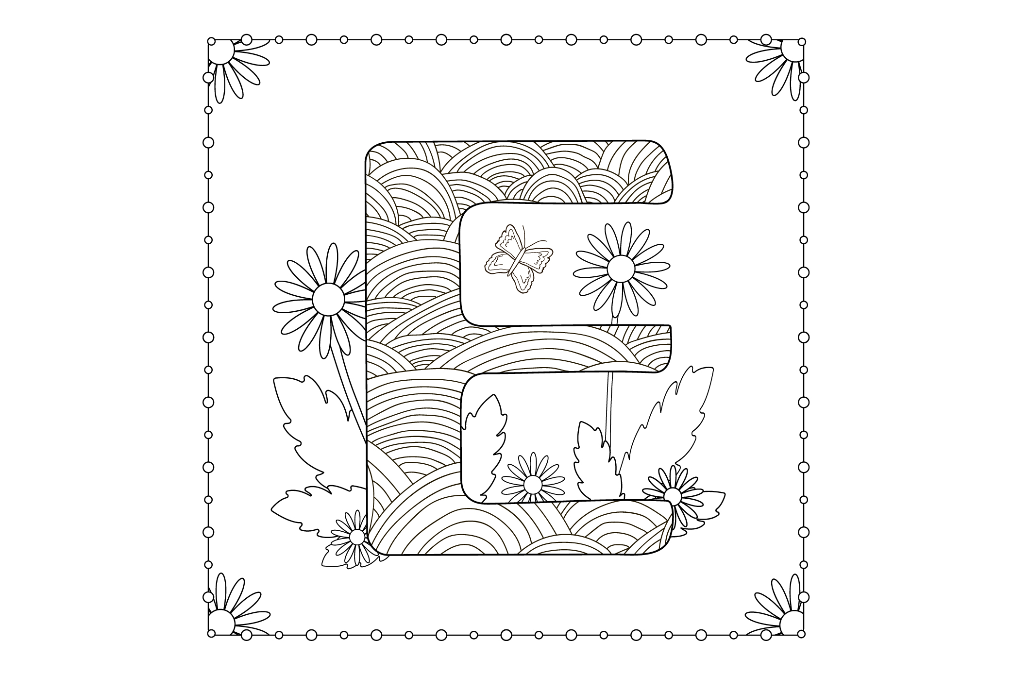 Letter E. Flowers. Coloring page. example image 1