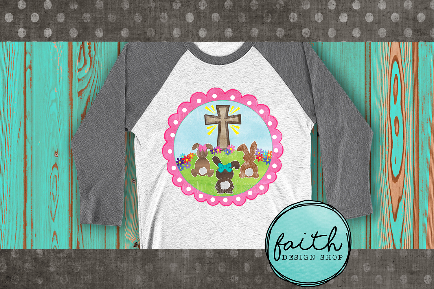 EASTER - Cross and Bunnies - Pink Frame, pdf, png example image 3