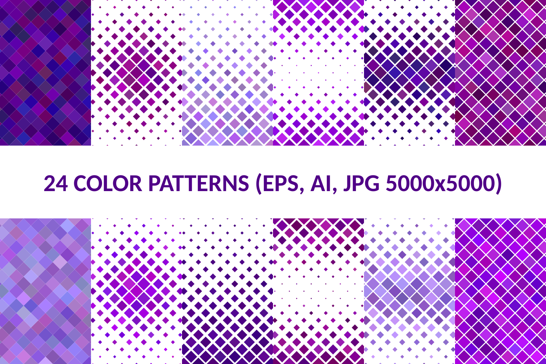 24 Purple Square Patterns AI, EPS, JPG 5000x5000 example image 1
