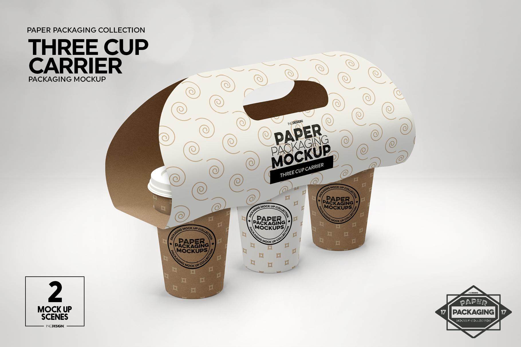 Three Cup Paper Carrier Packaging Mockup example image 10