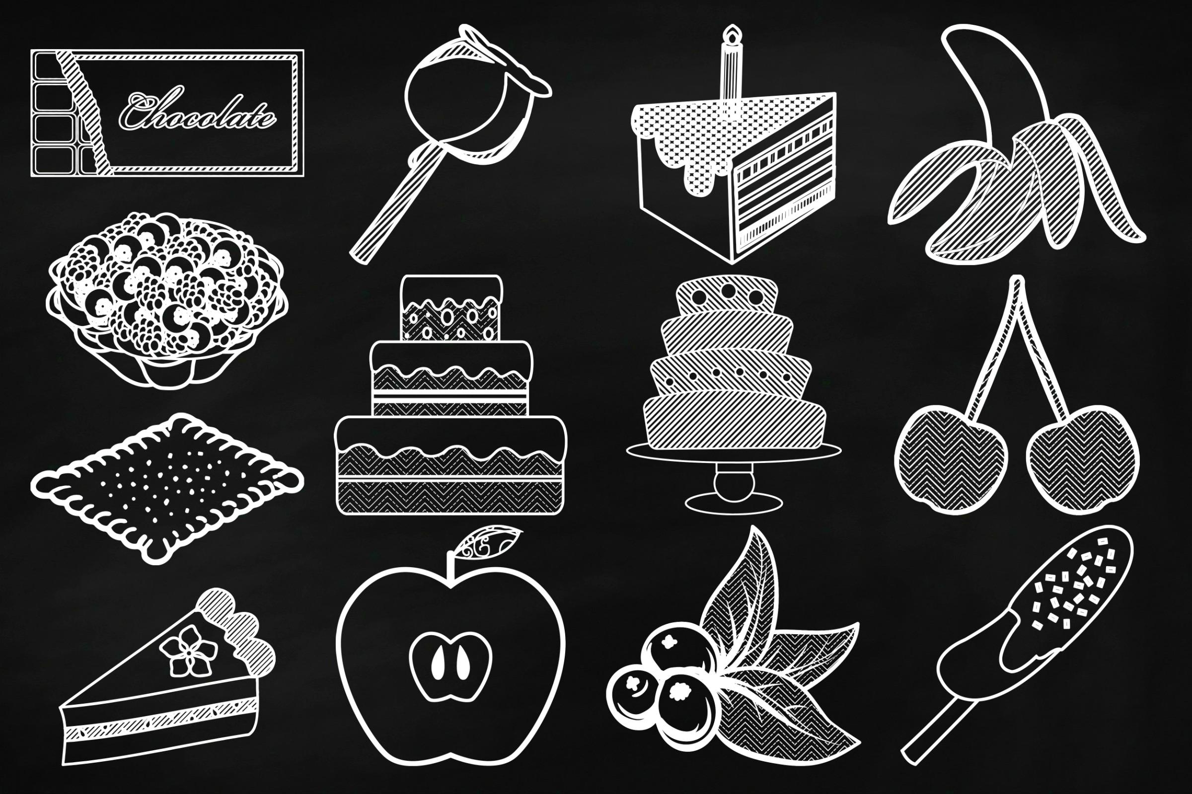 Chalk Sweet Junk Food Doodles Clip Art example image 5