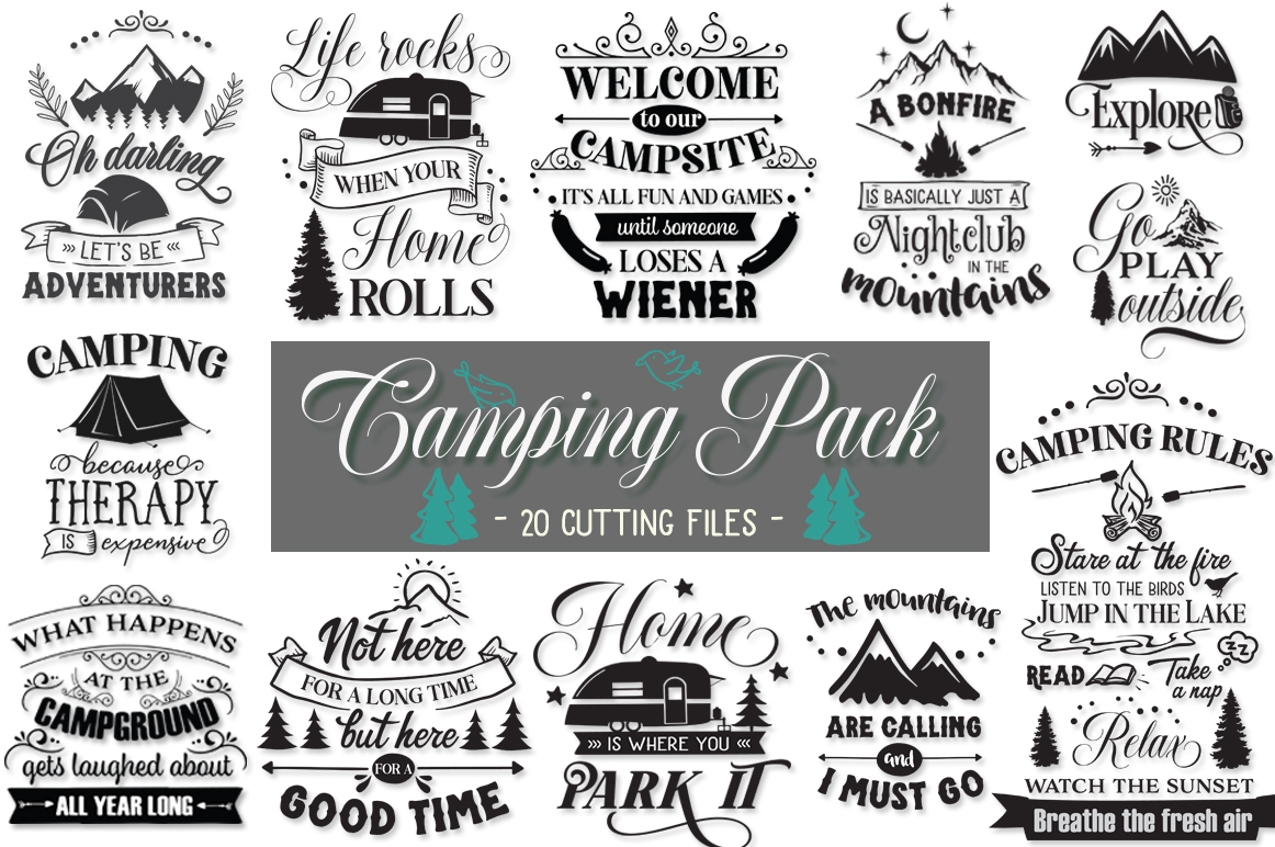 Camping Pack - 20 Cutting Files example image 1