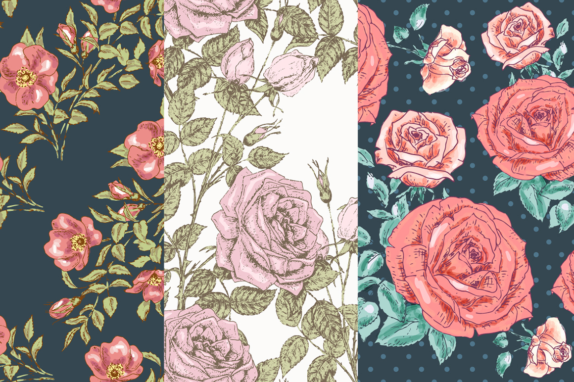 Hand Drawn Floral Vector Patterns example image 4