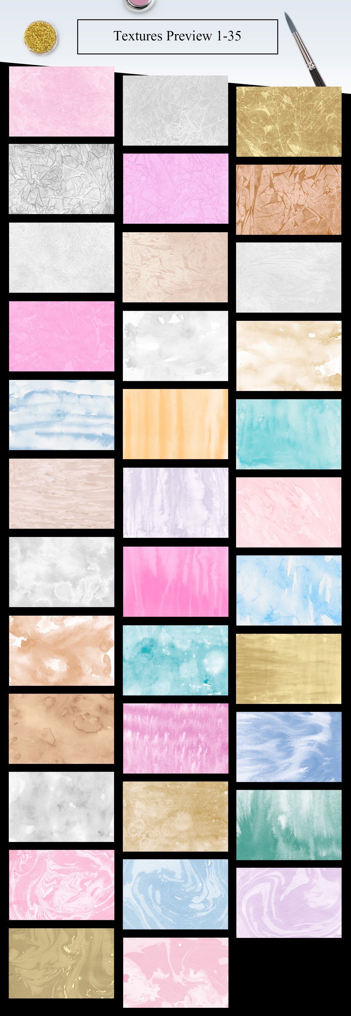 70 Watercolor, Gold, Marble Textures example image 3