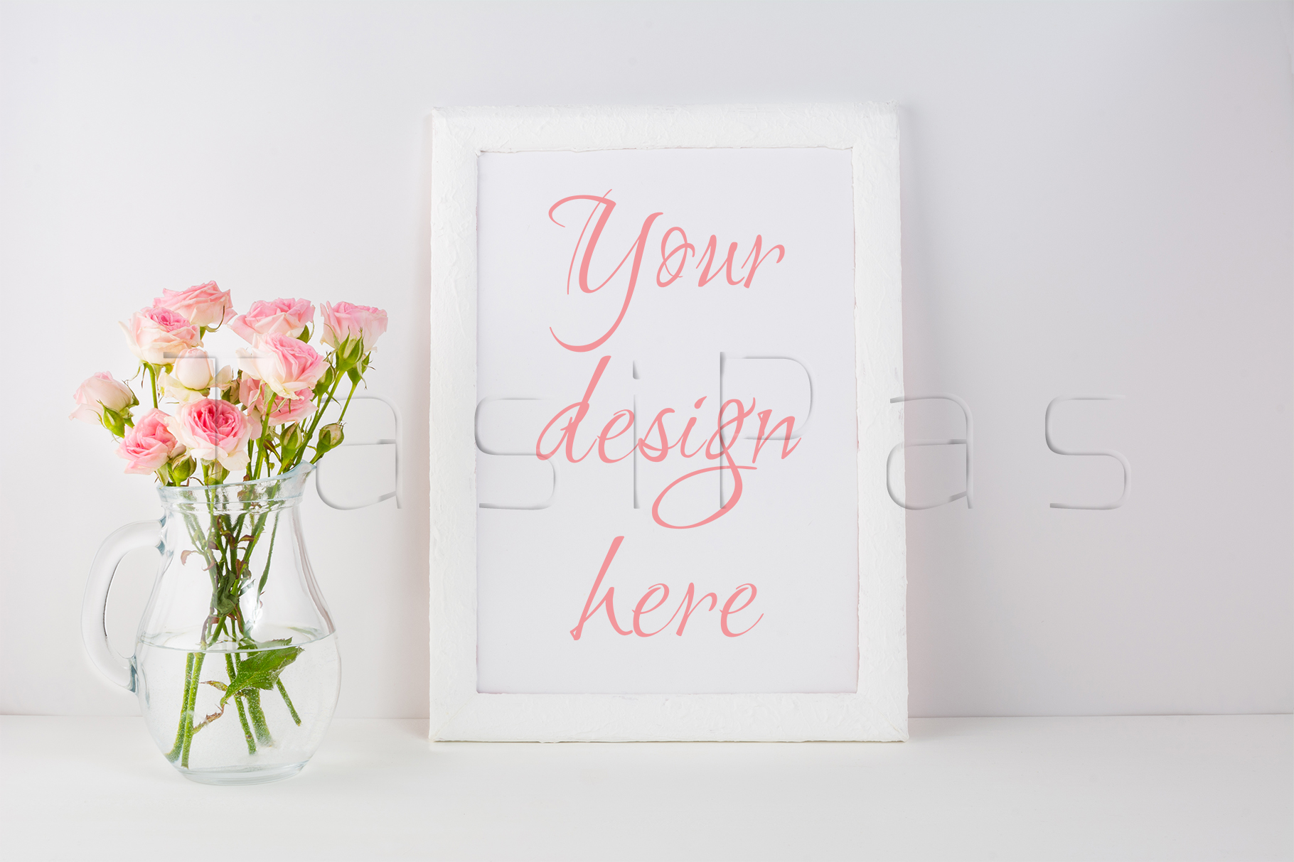 Frame mockup with pink roses example image 1