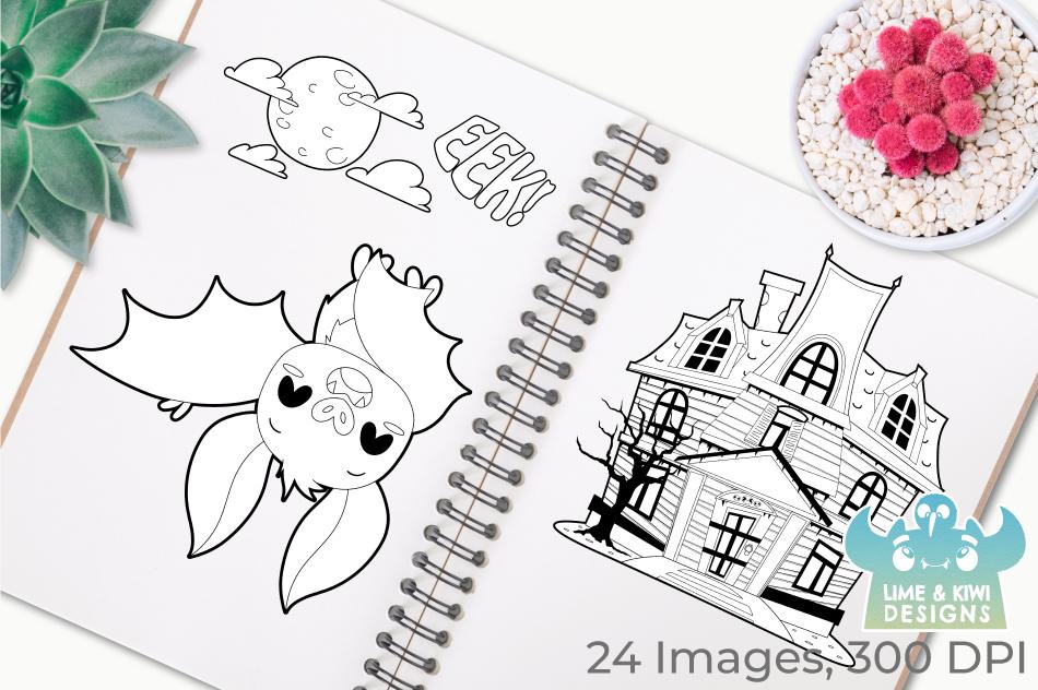 Vampire Bats Digital Stamps, Instant Download Vector Art example image 3