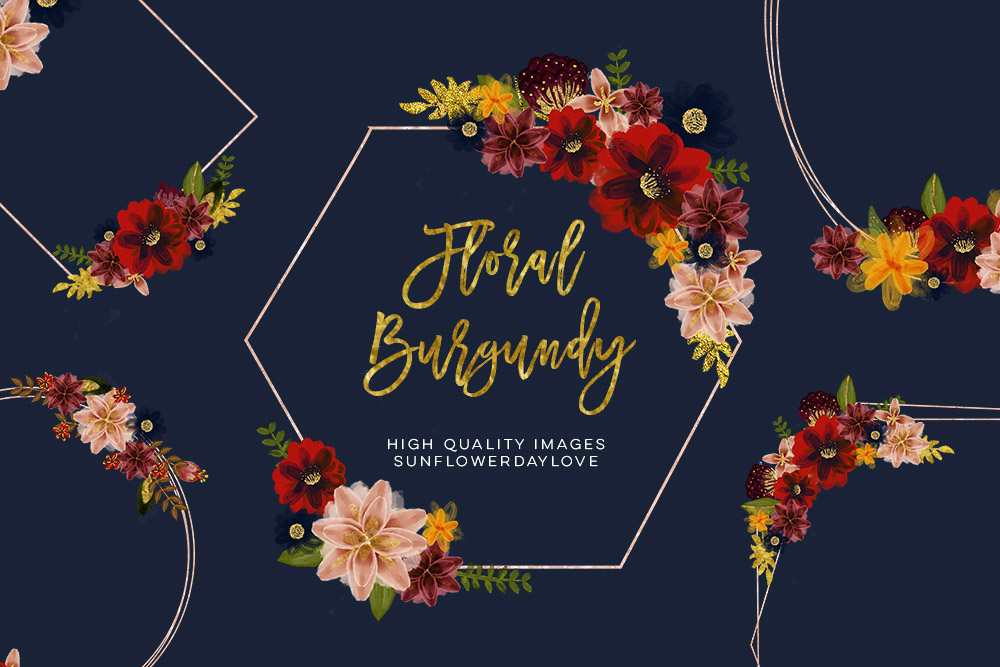 Marsala Burgundy Navy Floral Watercolor Set Clip art example image 6