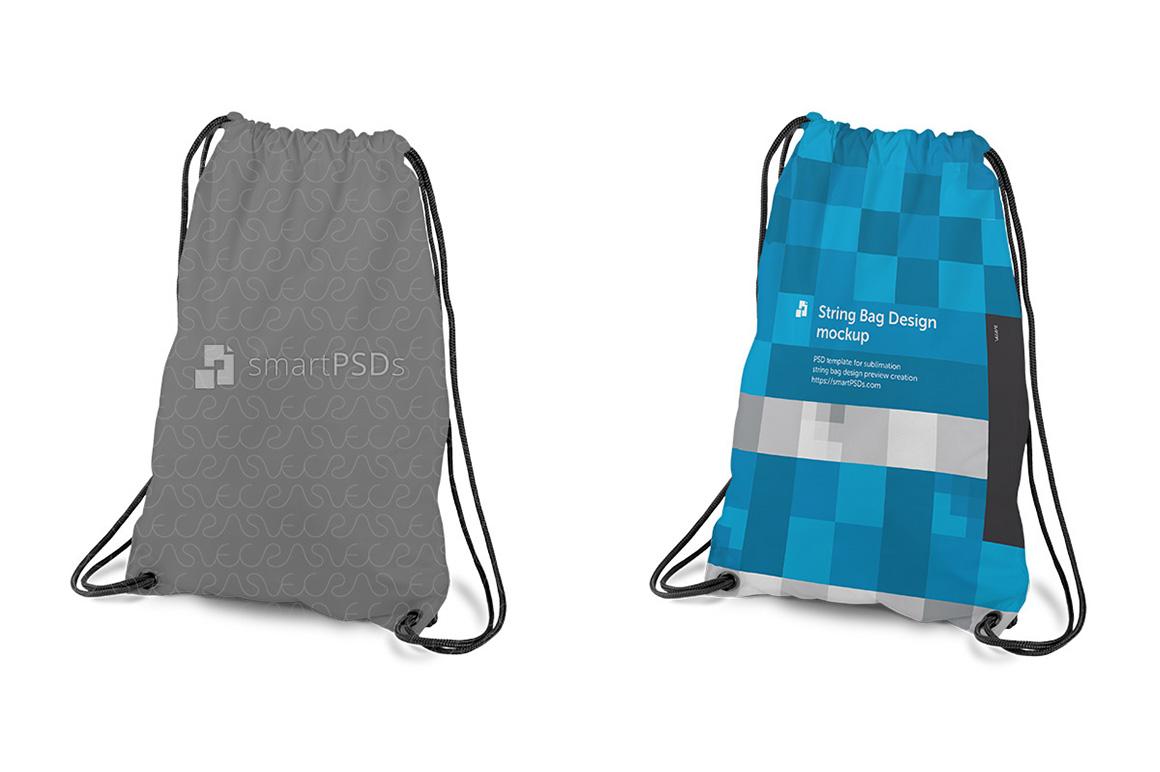 String Bag Sublimation Design Mockup - 4 Views example image 2
